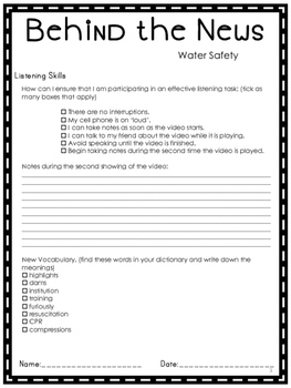 Listening Comprehension News Story Water Safety