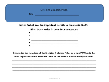 Test Prep Note Taking FSA (Listening Comprehension Notes)