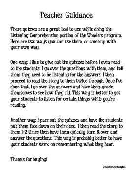 Listening Comprehension Quizzes- Wonders Supplement