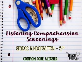 Listening Comprehension Screenings Bundle {Grades K-8}