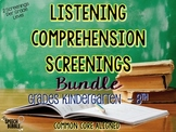 Listening Comprehension Screenings Bundle {Grades K-8}