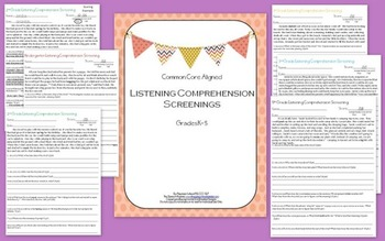 Listening Comprehension Screenings K-5 : Common Core Aligned