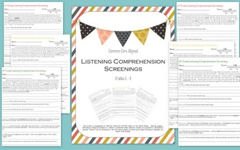 Listening Comprehension Screenings Grades 6 - 8: Common Core Aligned