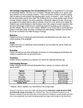 Speech Therapy-Listening Comprehension Test-2 (LCT-2) report template