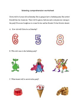 Listening Comprehension for pre-K and K - 8 pages of short stories with pictures