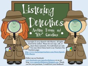 """Listening Detectives: Auditory Memory and """"Wh-"""" Questions"""