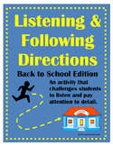 Listening & Following Directions Back To School Edition +Reading Comprehension