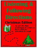 Listening & Following Directions Christmas Edition +Reading Comprehension