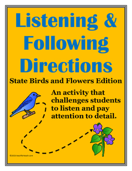 Listening & Following Directions State Birds & Flowers +Reading Comprehension