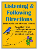 Listening & Following Directions State Birds & Flowers +Re