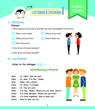 Listening Grade 1 - Lesson 1 Worksheet (Introducing a friend)