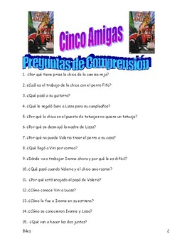"Listening Guide in Spanish to ""Cinco Amigas"""
