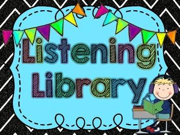 Listening Library Bin Label- Neon Chalkboard Theme