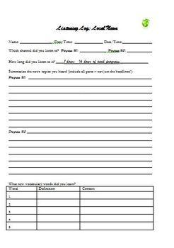 Listening Log Forms, Several Genres, Homework for ESL Students