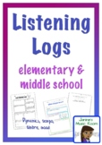 Listening Logs for Elementary and Middle School Music