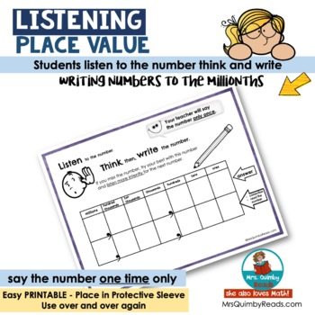 Listening-Place Value Activity--[Writing Numbers to the Millionths]