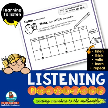 Listening-Place Value Activity | [Writing Numbers to the Millionth]