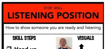 Listening Position Social Skill Steps Poster - The Empower Program K-2