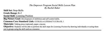 Listening Position - Social Skills Lesson Plan