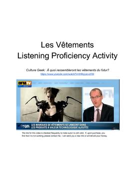 Les Vetements Listening Proficiency Activity (video and worksheet)