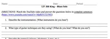 Listening Protocol (LP) BB King Blues Solo