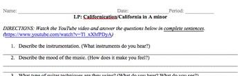 Listening Protocol (LP) Californication/California in A minor