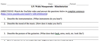 Listening Protocol (LP) Guitar Ensemble Waltz Masquerade by Khachaturian