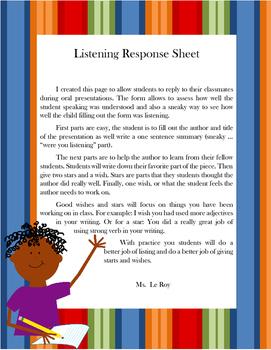 Listening Response Sheet