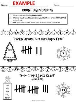 Listening STEAM Activity: Counting Pronouns: Christmas Pop Songs