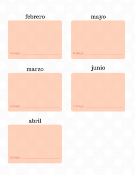 Listening Center Calendar Template-SPANISH