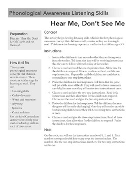 Listening Skills Game -Hear Me Don't See Me