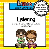 Listening Social Story Emergent Reader Book AND Interactive Activities