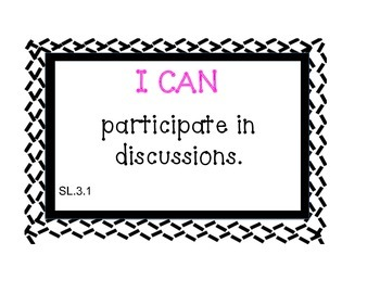 "Common Core Listening & Speaking ""I Can Posters"" (Criss-Crossed B&W)"