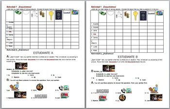 Listening, Speaking, Reading, Writing Traveling / preterite worksheet Spanish