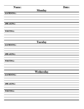 Listening, Speaking, and Writing Do Now Worksheet