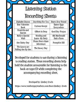 Listening Station Recording Sheets