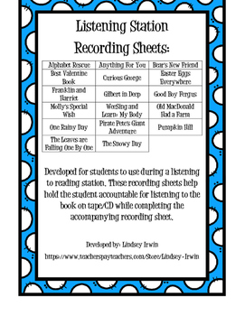 Listening Station Recording Sheets