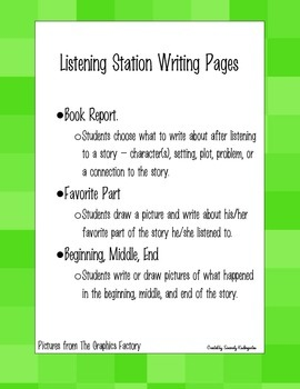 Listening Station Writing Pages