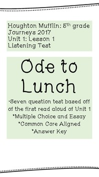 """Listening Test """"Ode to Lunch"""""""