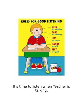 Listening While The Teacher is Talking Social Story