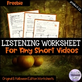 Ted Talk Worksheet/Listening Skills Halloween FREEBIE