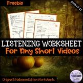 Listening Worksheet for Videos/Listening Skills Halloween FREEBIE