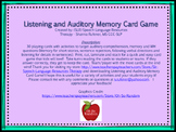 Listening and Auditory Memory Card Game
