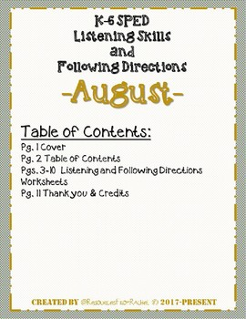 Listening and Following Directions - August