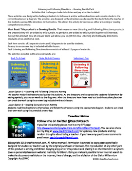 Listening and Following Directions Growing Bundle + Reading Comprehension