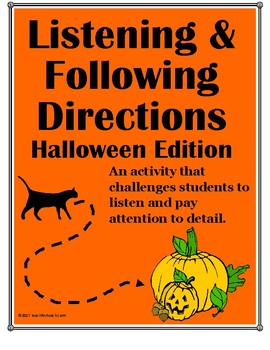 Listening and Following Directions Halloween Edition + Reading Comprehension