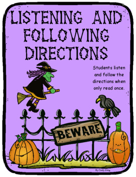 Listening and Following Directions ~ Halloween Themed