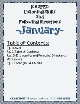 Listening and Following Directions - January