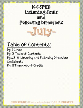 Listening and Following Directions - July