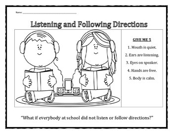 Listening and Following Directions handout
